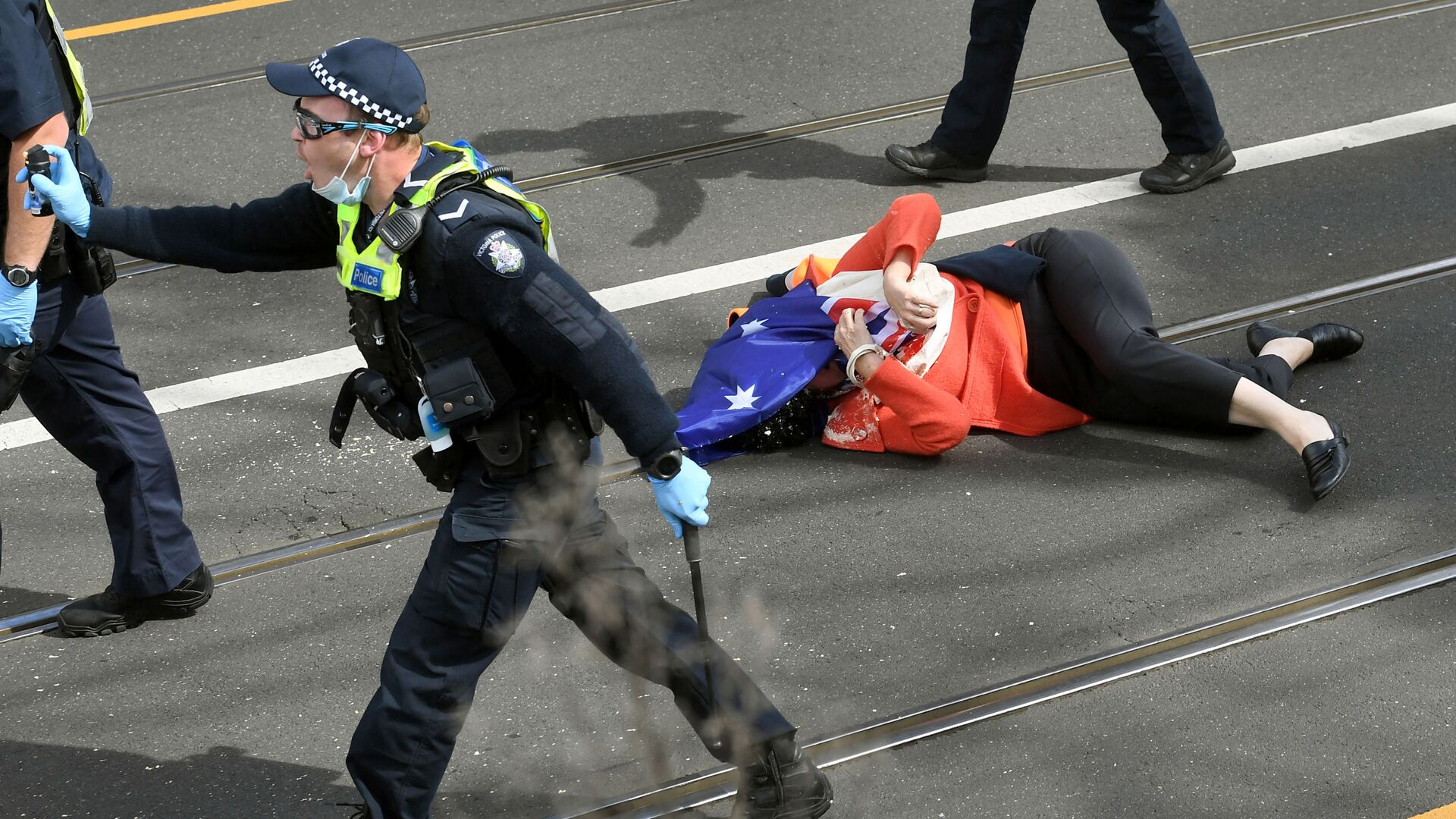 Oběť policejního násilí v Melbourne - Sputnik Česká republika, 1920, 19.09.2021