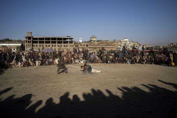 Afghánci sledují tradiční zápas v parku v Kábulu v Afghánistánu - Sputnik Česká republika