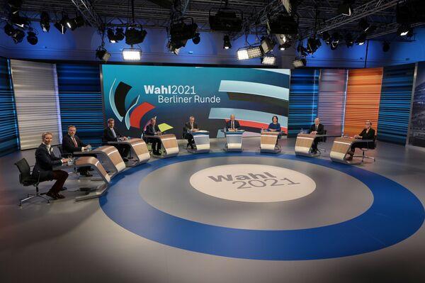Lídři politických stran na televizních debatách po ukončení voleb do Spolkového sněmu. - Sputnik Česká republika