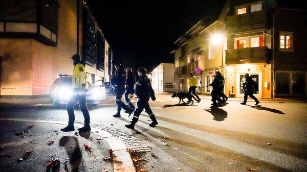 Policie na místě útoku  v norském Kongsbergu - Sputnik Česká republika