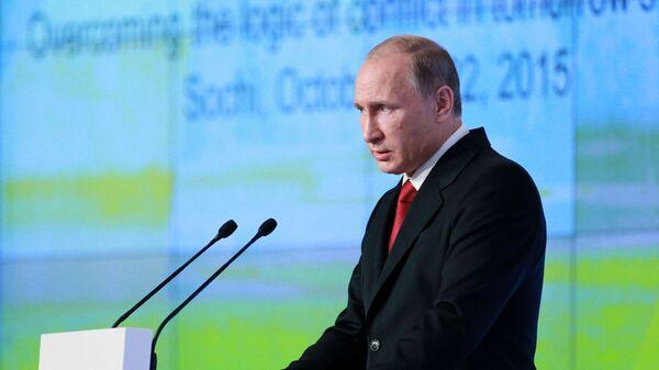Президент России Владимир Путин выступает на итоговой пленарной сессии Международного дискуссионного клуба Валдай - Sputnik Česká republika