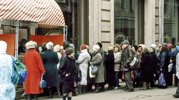 Fronta na potraviny. Moskva. Rok 1991 - Sputnik Česká republika