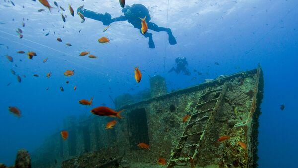 Potápěči na místě dopravní lodi Thistlegorm, která se potopila v Suezském zálivu v roce 1941, Egypt. - Sputnik Česká republika