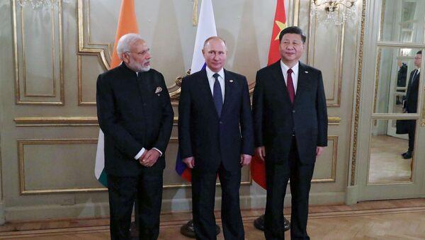 Naréndra Módí, Vladimir Putin, Si Ťin-pching - Sputnik Česká republika