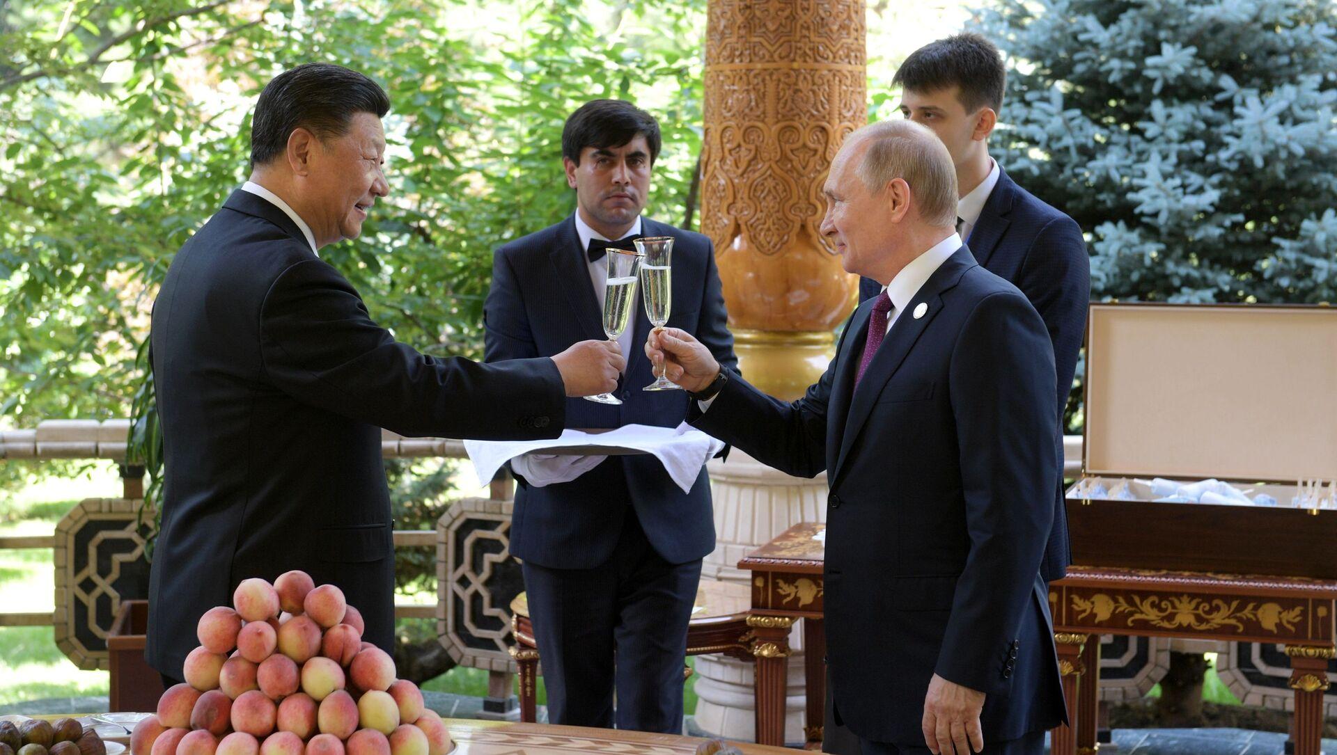 Vladimir Putin a Si Ťin-pching během schůzky v rezidenci čínského lídra v Dušanbe - Sputnik Česká republika, 1920, 30.03.2021