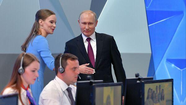 Ruský prezident Vladimir Putin před zahájením Přímé linky (dne 20. června 2019) - Sputnik Česká republika