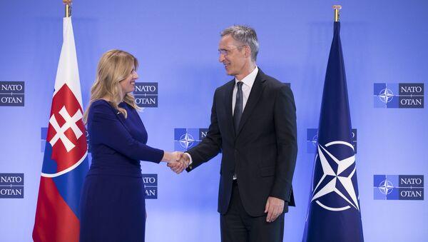 Slovenská prezidentka Zuzana Čaputová na setkání s generálním tajemníkem Severoatlantické aliance Jensem Stoltenbergem  - Sputnik Česká republika
