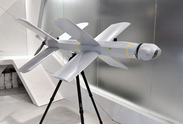 Sebevražedný dron ZALA Lancet u stánku koncernu Kalašnikov na Mezinárodním vojensko-technickém fóru Army 2019. - Sputnik Česká republika