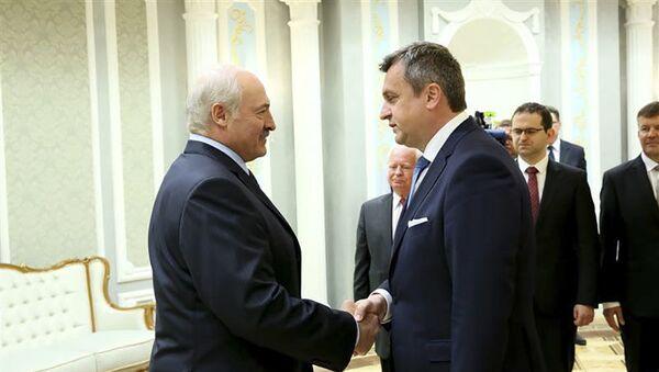 Předseda Národní rady Slovenské republiky Andrej Danko a prezident Běloruska Alexandr Lukašenko 4. června 2019 - Sputnik Česká republika