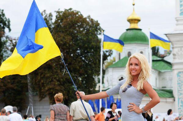 Účastníce oslav Dne nezávislosti v Kyjevě - Sputnik Česká republika