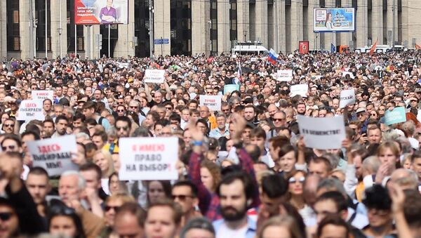 Mítink kvůli volbám do Moskevské městské dumy - Sputnik Česká republika