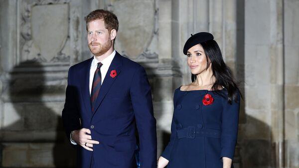 Prince Harry and Meghan, Duchess of Sussex leave Westminster Abbey after attending the Remembrance Sunday ceremony at Westminster Abbey in London, Sunday, Nov. 11, 2018.  - Sputnik Česká republika