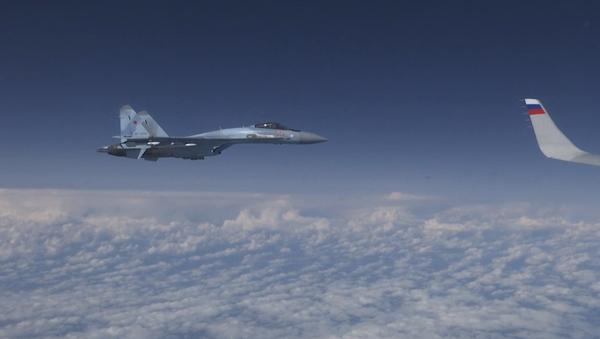Video: Stíhací letoun NATO se pokusil přiblížit k letadlu ruského ministra obrany Šojgu  - Sputnik Česká republika