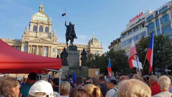 Účastníci pochodu dne 21. srpna 2019 na Václavském náměstí - Sputnik Česká republika
