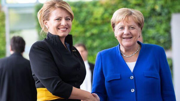 Slovenská prezidentka s německou kancléřkou Angelou Merkelovou, 21. srpna 2019 - Sputnik Česká republika