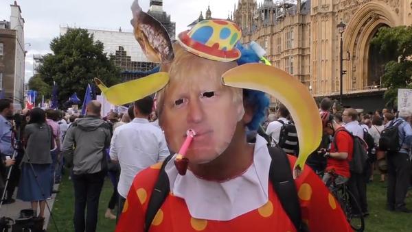 Video: Rozsáhlé protesty v Londýně po rozhodnutí  britského premiéra Johnsona pozastavit práci britského parlamentu - Sputnik Česká republika
