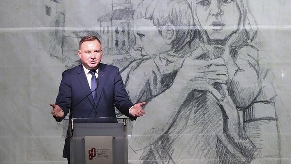 Projev polského prezidenta Andrzeje Dudy během vzpomínkové akce při příležitosti 80. výročí německého bombardování polského města Wieluń (1. září 2019) - Sputnik Česká republika