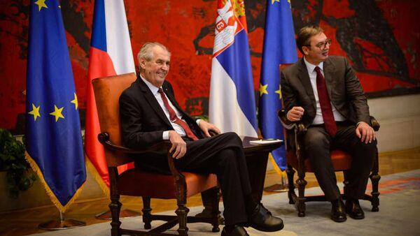 Miloš Zeman a Aleksandr Vučić - Sputnik Česká republika