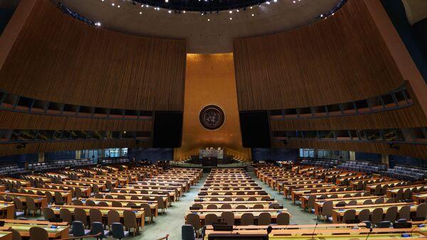 Prázná místnost, kde se koná zasedání Valného shromáždění OSN - Sputnik Česká republika