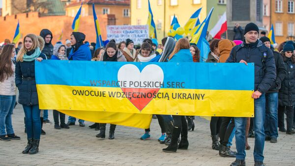Pochod ve Varšavě k výročí Majdanu na Ukrajině - Sputnik Česká republika