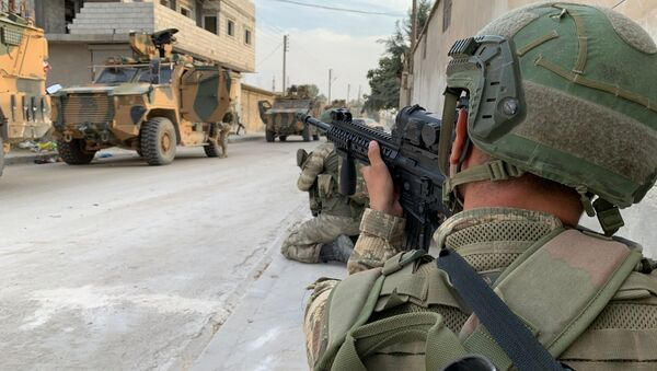 Turečtí vojáci v Tal Abiadu v Sýrii - Sputnik Česká republika