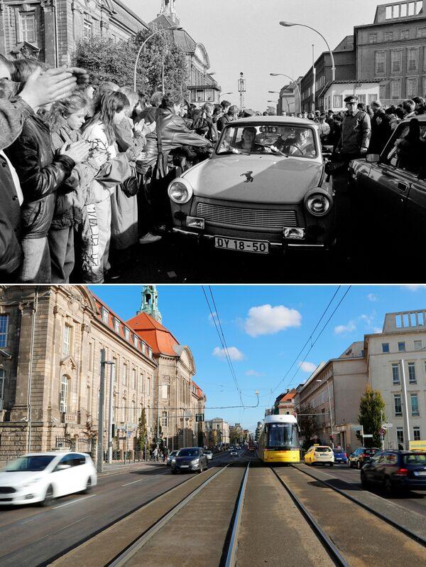 Horní snímek zachycuje obyvatele Západního Berlína, kteří vítají své východní sousedy po otevření hranice (dne 10. listopadu 1989). Dolní snímek zachycuje stejné místo ze dne 30. října 2019. - Sputnik Česká republika