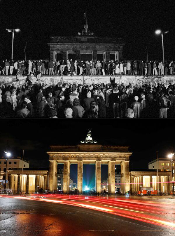 Horní snímek zachycuje občany západního Německa, kteří sedí na Berlínské zdi na ulici Zimmer Strasse 9 (dne 9. listopadu. 1989). Dolní snímek zachycuje stejné místo ze dne 30. října 2019. - Sputnik Česká republika