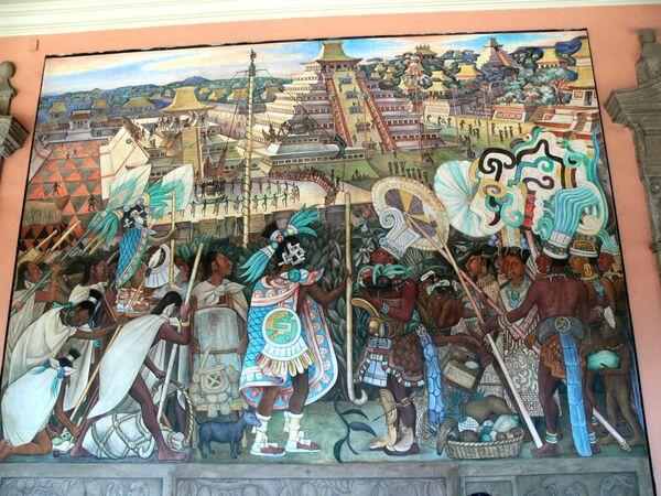 Nástěnná malba Diego Rivera zobrazující každodenní život Aztéků. Národní palác, Ciudad de México - Sputnik Česká republika