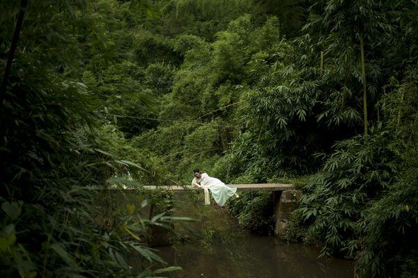 Turistka v bambukovém lese prefektury I-pin  - Sputnik Česká republika