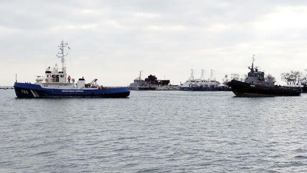 Lodě Berďansk, Nikopoľ a vlečná loď Yany Kapu  - Sputnik Česká republika