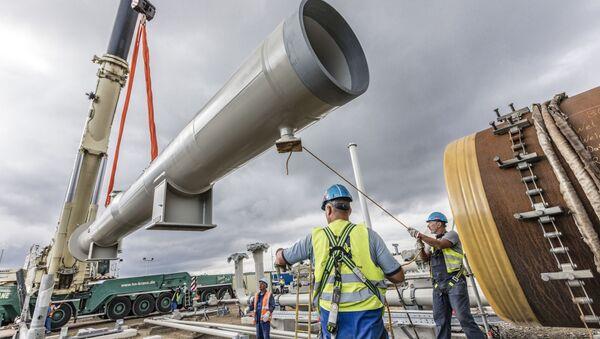 Instalace přijímací kamery na staveništi Nord Stream 2 v Lubminu - Sputnik Česká republika