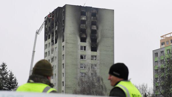 Požár v důsledku výbuchu plynu v obytné budově, Prešov - Sputnik Česká republika