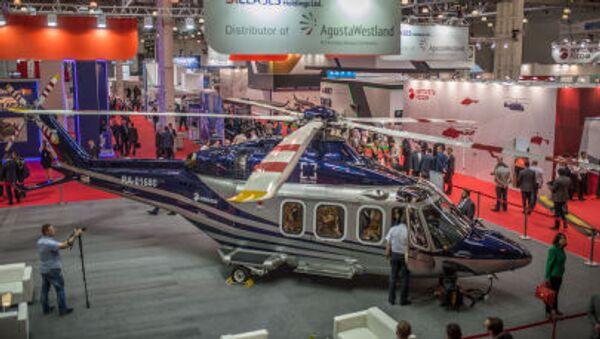 Italský vrtulník Agusta AW-139  na mezinárodní výstavě HeliRussia 2015 - Sputnik Česká republika