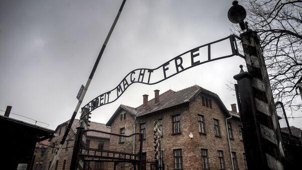 Centrální brána bývalého koncentračního tábora Osvětim-Birkenau v Osvětimi - Sputnik Česká republika