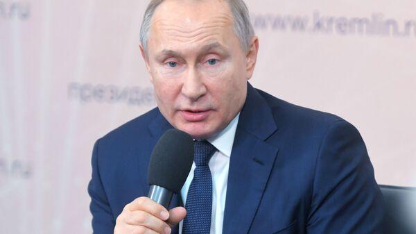 Ruský prezident Vladimir Putin v Lipecké oblasti - Sputnik Česká republika