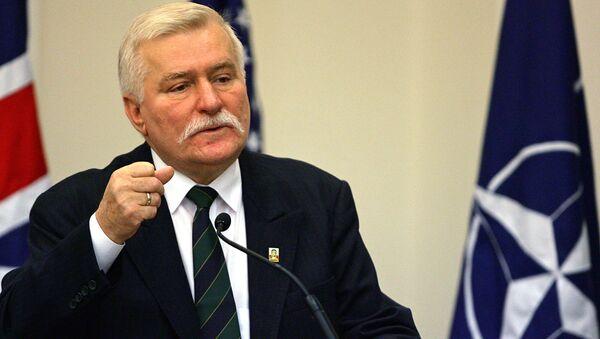 Bývalý polský prezident Lech Wałęsa  na zasedání v Portugalsku - Sputnik Česká republika