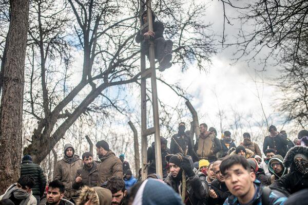 Tisícovky migrantů čekají v nárazníkovém pásmu v tureckém Pazarkule na hranici s Řeckem. - Sputnik Česká republika