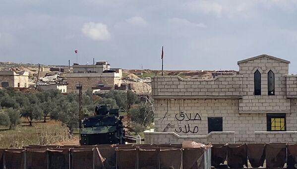 Turecké kontrolní stanoviště na dálnici M5 spojující Damašek a Aleppo v provincii Idlib. - Sputnik Česká republika