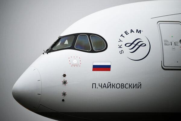 První letadlo Airbus A350 ve flotile Aeroflotu je pojmenováno po hudebním skladateli Petru Čajkovskému. - Sputnik Česká republika