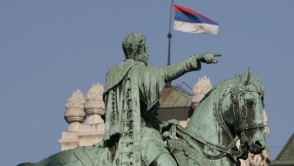 Památník knížete Mihajla Obrenoviće III. na Náměstí republiky v Bělehradě - Sputnik Česká republika
