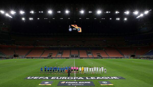 Prázdný stadion San Siro ve městě Milán během zápasu v rámci Ligy Evropy mezi kluby FC Inter Milán a PFK Ludogorec Razgrad - Sputnik Česká republika
