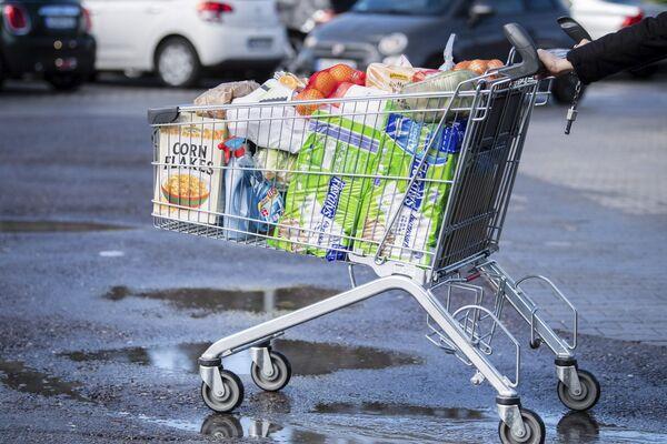 Nákupní vozík naplněný zbožím. Pullach, Německo - Sputnik Česká republika