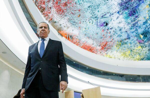 Ruský ministr zahraničí Sergej Lavrov na zasedání Rady OSN pro lidská práva - Sputnik Česká republika