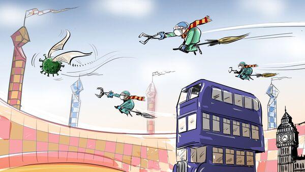 Britští lékaři jsou v Londýně přepravováni kouzelnými autobusy  - Sputnik Česká republika