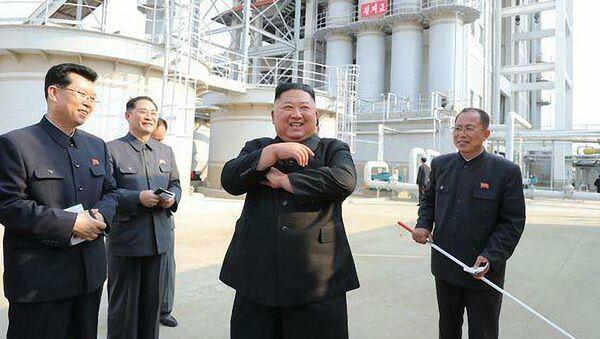 Kim Čong-un během ceremonie dokončení výstavby závodu na hnojiva ve městě Sunčchon (1. května 2020) - Sputnik Česká republika