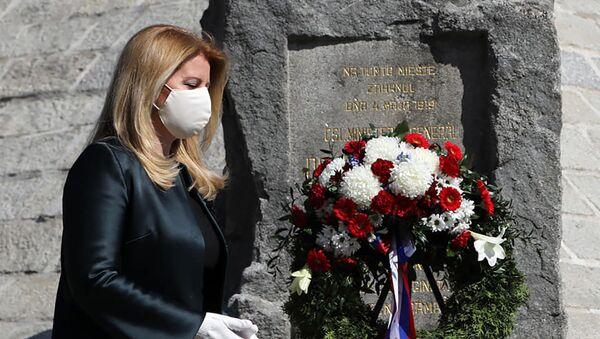 Slovenská prezidentka Zuzana Čaputová při položení květin na hrob Milana Rastislava Štefánika - Sputnik Česká republika
