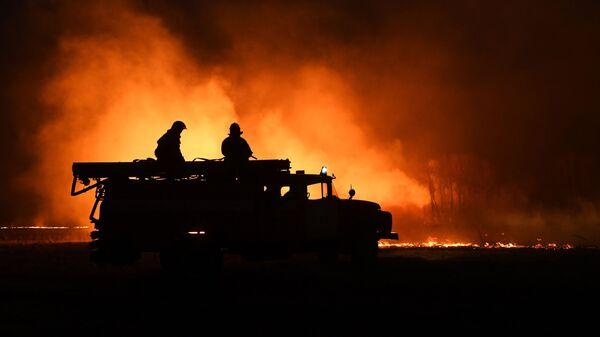 Hasiči hasí požár v Novosibiřské oblasti - Sputnik Česká republika