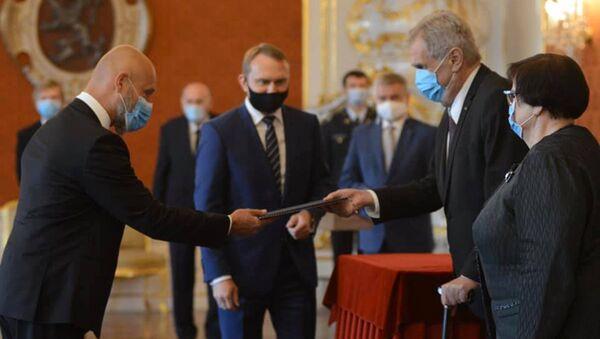 Předseda Nejvyššího soudu Petr Angyalossy a prezident ČR Miloš Zeman - Sputnik Česká republika