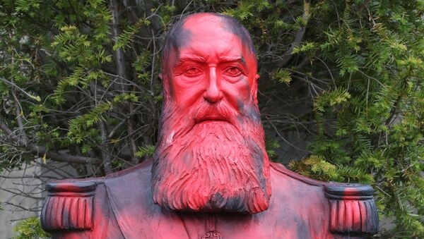 Znesvěcení pomníku krála kolonizátora Leopolda II. v Belgii - Sputnik Česká republika
