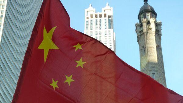 Čínská vlajka v Chicagu - Sputnik Česká republika